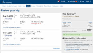 NYC to Madrid: Travelocity Booking Page