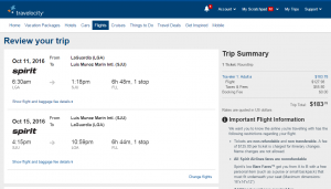 NYC to Puerto Rico: Travelocity Booking Page