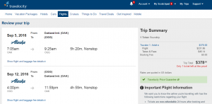 Oakland to Maui: Travelocity Booking Page