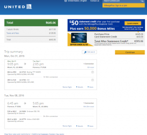 Miami to Florence: United Booking Page