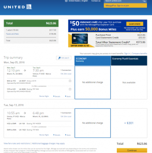 Miami to Vience: United Booking Page