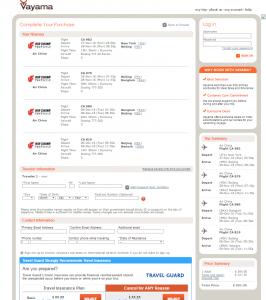 NYC to Bangkok: Vayama Booking Page