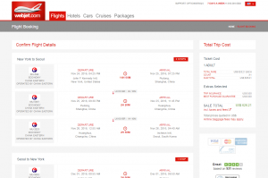 NYC to Seoul: WebJet Booking Page