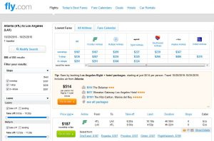 ATL-LAX: Fly.com Search Results