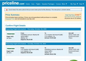 ATL-LAX: Frontier Airlines Booking Page