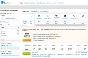 AUS-DEN: Fly.com Search Results