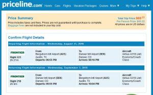 AUS-DEN: Priceline Booking Page