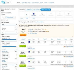 Boston to New Orleans: Fly.com Results
