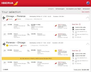 CHI-FLR: Iberia Booking Page