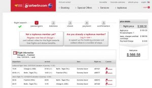 CHI-FRA: airberlin Booking Page
