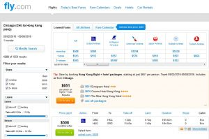 CHI-HKG: Fly.com Search Results ($508)