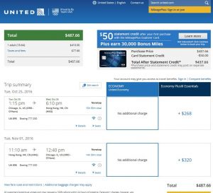 CHI-HKG: United Airlines Booking Page ($488)