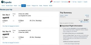 CHI-LAX: Expedia Booking Page
