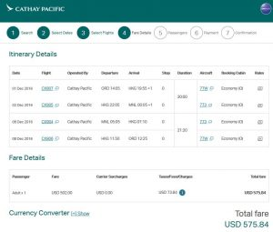 CHI-MNL: Cathay Pacific Booking Page