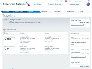 CHI-PAR: American Airlines Booking Page