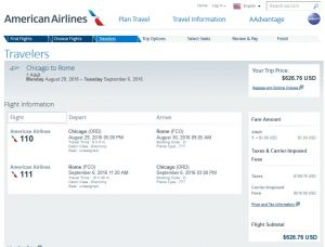 CHI-ROM: American Airlines Booking Page