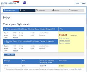 CHI-ROM: British Airways Booking Page