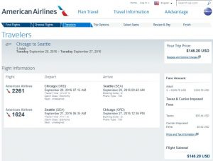 CHI-SEA: American Airlines Booking Page