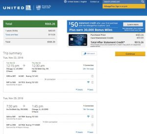 CHI-SGN: United Airlines Booking Page