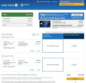 CHI-SJU: United Airlines Booking Page