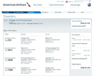 CHI-STT: American Airlines Booking Page