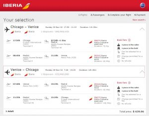 CHI-VCE: Iberia Booking Page
