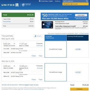 CLE-MIA: United Airlines Booking Page