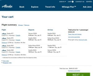 DEN-KOA: Alaska Airlines Booking Page