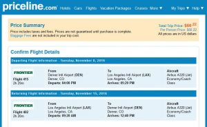 DEN-LAX: Priceline Booking Page