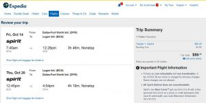 DFW-BOS: Expedia Booking Page