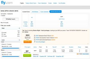 DFW-BOS: Fly.com Search Results