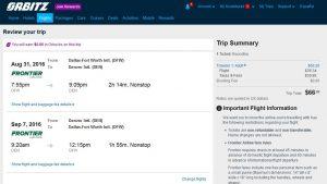 DFW-DEN: Orbitz Booking Page