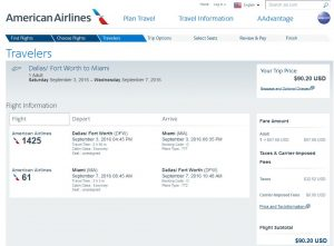 DFW-MIA: American Airlines Booking Page