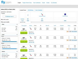 DFW-MIA: Fly.com Search Results