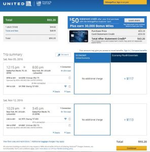 DFW-NYC: United Airlines Booking Page