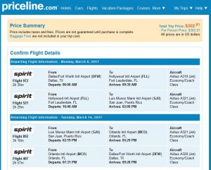 DFW-SJU: Priceline Booking Page