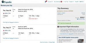 DFW-TYO: Expedia Booking Page