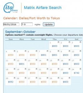 DFW-TYO: ITA Matrix Calendar Page (Sept.)