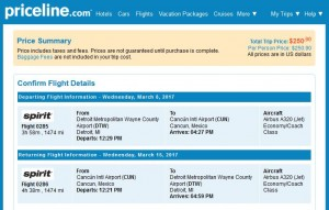 DTW-CUN: Priceline Booking Page