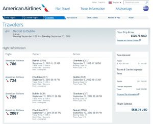 DTW-DUB: American Airlines Booking Page ($527)