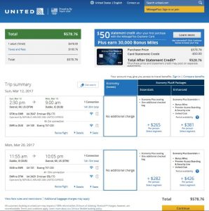 DTW-DUB: United Airlines Booking Page ($579)