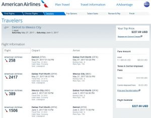 DTW-MEX: American Airlines Booking Page