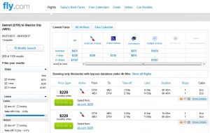 DTW-MEX: Fly.com Search Results