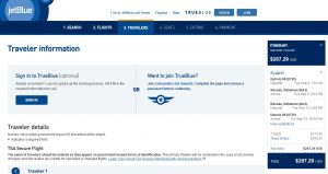 DTW-NAS: JetBlue Booking Page ($288)
