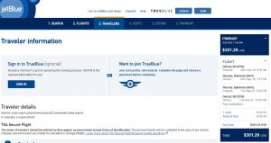 DTW-NAS: JetBlue Booking Page ($302)