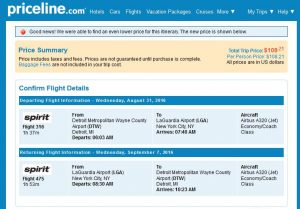 DTW-NYC: Priceline Booking Page