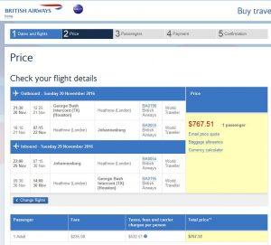 IAH-JNB: British Airways Booking Page