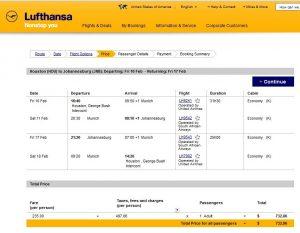 IAH-JNB: Lufthansa Booking Page
