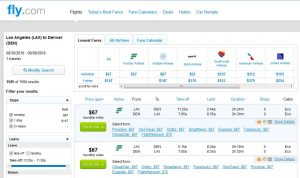 LAX-DEN: Fly.com Search Results