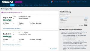 LAX-DEN: Orbitz Booking Page